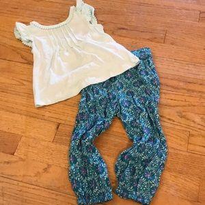 Girls Cherokee Shirt Pants Matching Set. Size 2T
